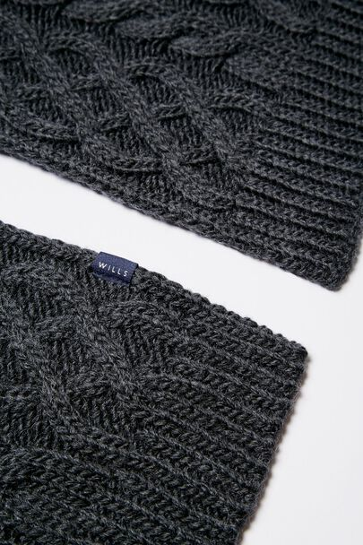 SIRETT CABLE KNIT SCARFSIRETT CABLE KNIT SCARF CHARCOAL