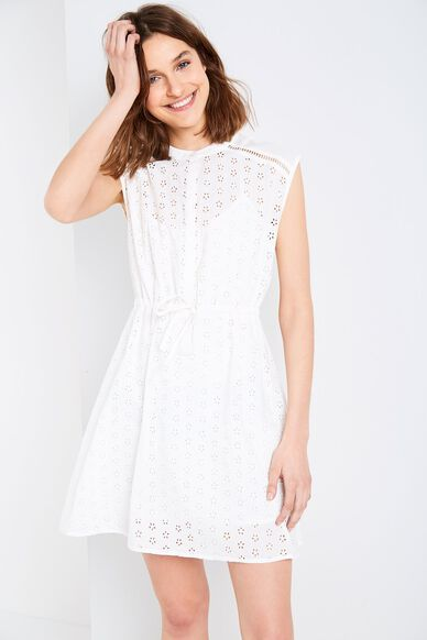 WOOLSCOTT BRODERIE SHIRT DRESS WHITE