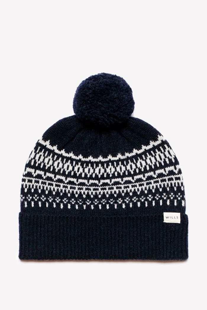 Product photo of Buxton pom pom knit fairisle hat navy