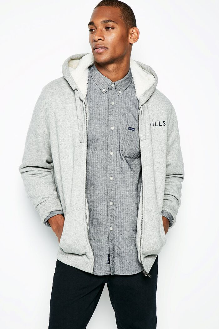 Product photo of Whitelaw sherpa zip up hoodie grey