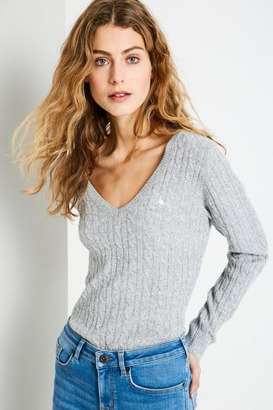 AMBLESIDE V NECK JUMPER GREY MARL
