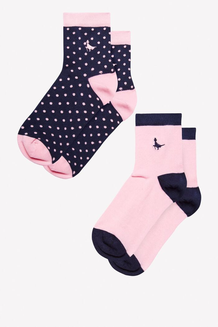 Product photo of Pullborough 2 pack ankle socks pink navy print
