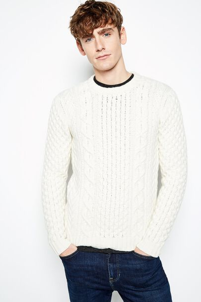 OLTON PATCHWORK CABLE CREW NECK JUMPER