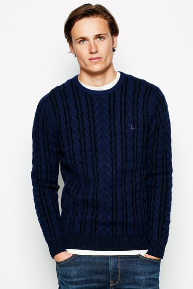 MARLOW CABLE CREW NECK JUMPER NAVY/BLACK