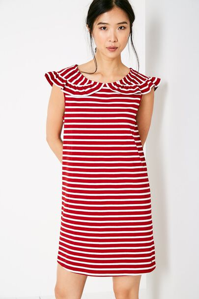 CATE STRIPE FRILL COLLAR DRESS