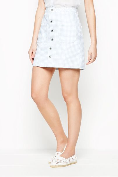 AYCLIFFE GINGHAM DENIM SKIRT