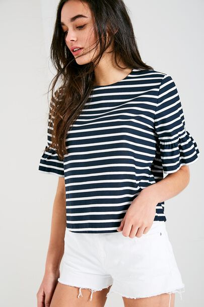 HIDDENHURST STRIPED FRILL SLEEVE TOP
