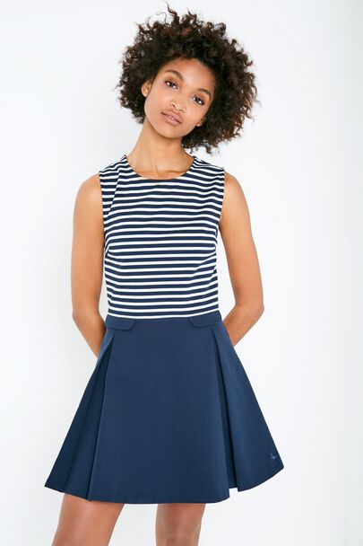 MORRIS STRIPE PLEATED DRESS