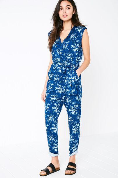 GREENCROFT FLORAL WRAP FRONT JUMPSUIT