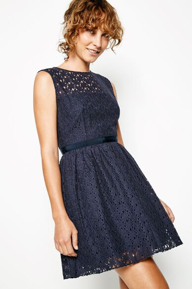 STROOD SLEEVELESS LACE DRESS NAVY