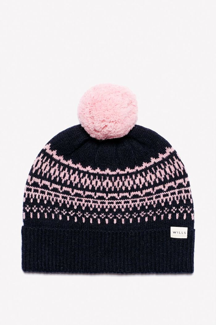 Product photo of Buxton pom pom knit fairisle hat pink navy