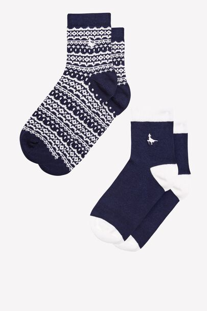 PULLBOROUGH 2 PACK FAIRISLE ANKLE SOCKS