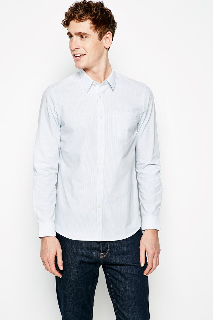 Product photo of Salcombe poplin stripe shirt light blue