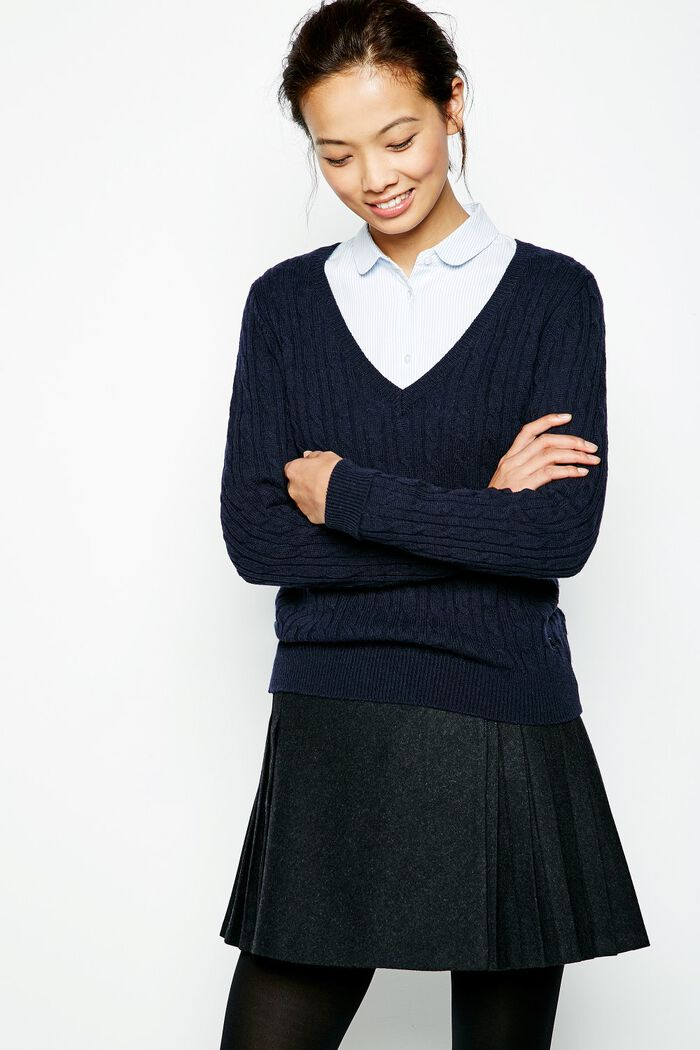 Product photo of Ambleside cable v neck jumper navy
