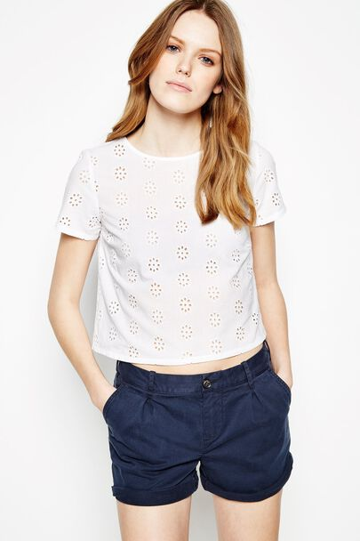 SEAVINGTON CROPPED EMBROIDERED TEE