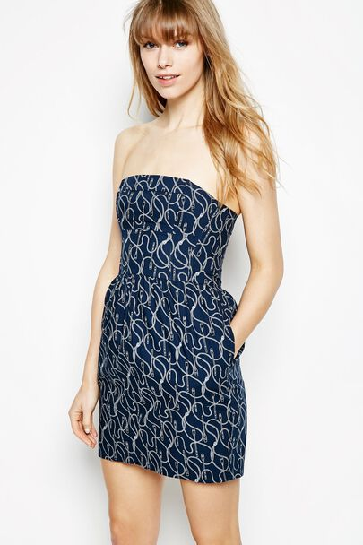 DIDWORTHY OAR PRINT BANDEAU DRESS