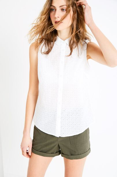 AVERTON SLEEVELESS BRODERIE SHIRT