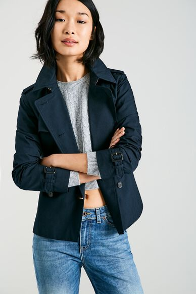 HATHERSHAW CROPPED TRENCH COAT NAVY