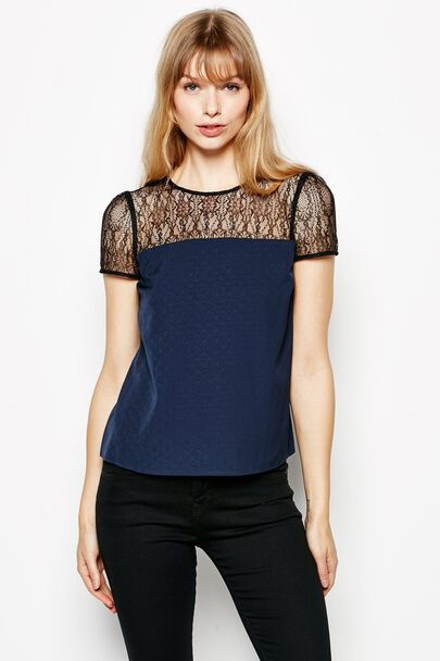 YOAKLEY LACE & CREPE TOP