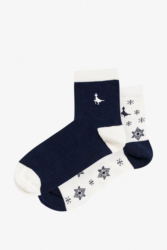 Product photo of Pullborough 2 pack snowflake socks white print