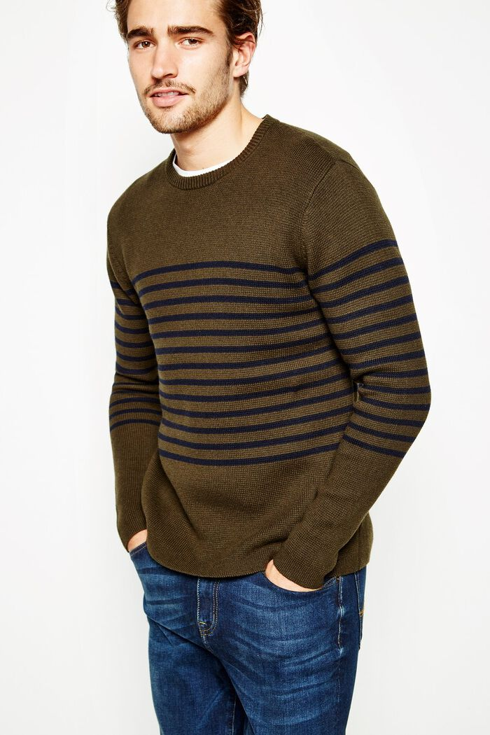 Product photo of Todd breton stripe crew neck jumper pine