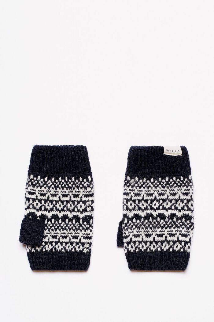 Product photo of Ambrus fairisle fingerless knit gloves navy