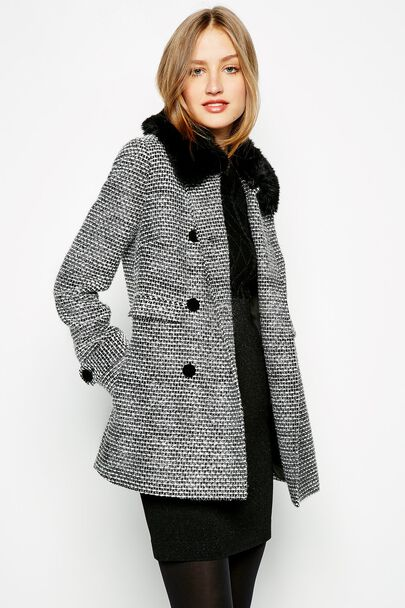 KENILWORTH A-LINE FUR COLLAR COAT
