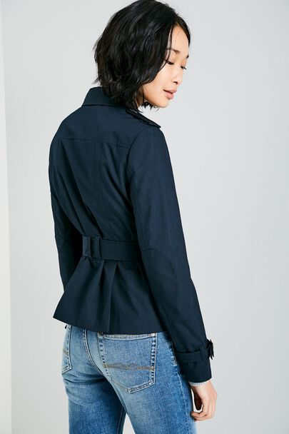 HATHERSHAW CROPPED TRENCH COATHATHERSHAW CROPPED TRENCH COAT NAVY