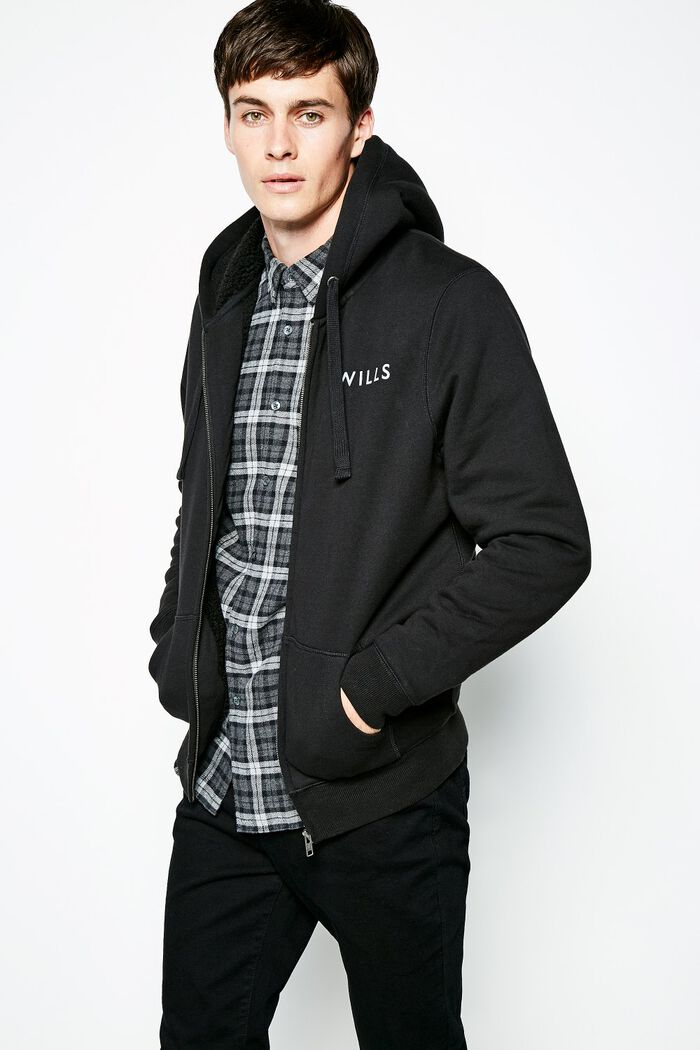 Product photo of Whitelaw sherpa zip up hoodie black