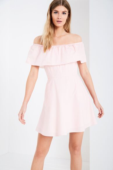 ELLA STRIPE OFF SHOULDER DRESS ROSE