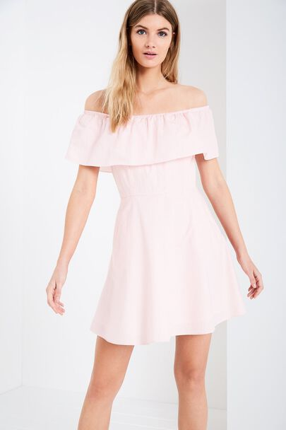 ELLA STRIPE OFF SHOULDER DRESSELLA STRIPE OFF SHOULDER DRESS ROSE