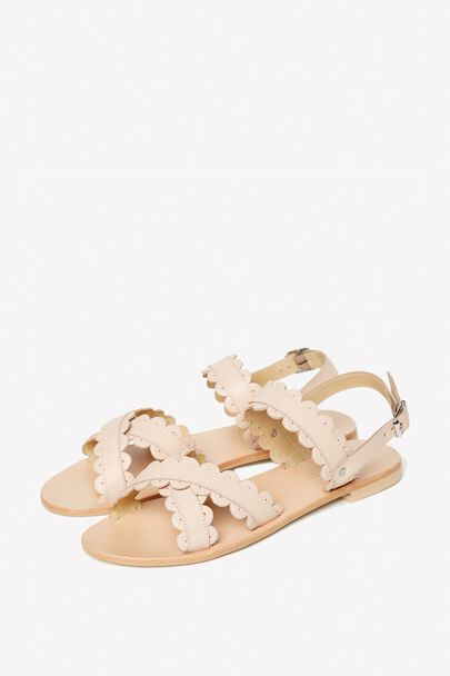 LIMBURY LEATHER SCALLOPED SANDAL