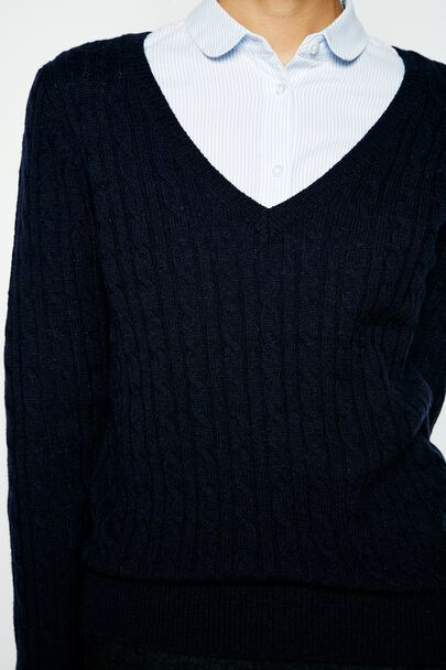 AMBLESIDE CABLE V NECK JUMPERAMBLESIDE CABLE V NECK JUMPER NAVY