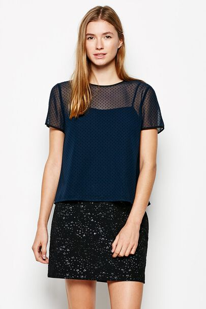 DULWICH FLOCK DOT SHORT SLEEVE TOP