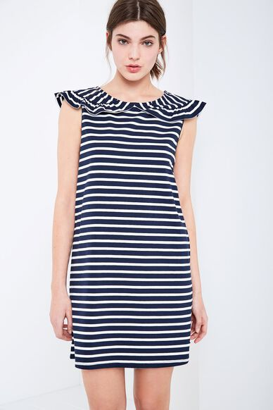 CATE STRIPE FRILL COLLAR DRESS NAVY