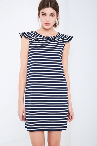CATE STRIPE FRILL COLLAR DRESSCATE STRIPE FRILL COLLAR DRESS NAVY