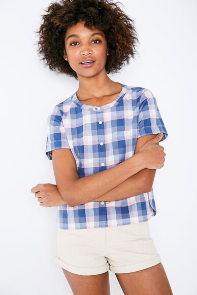 DEVIN CHECKED COLLARLESS SHIRT ROSE