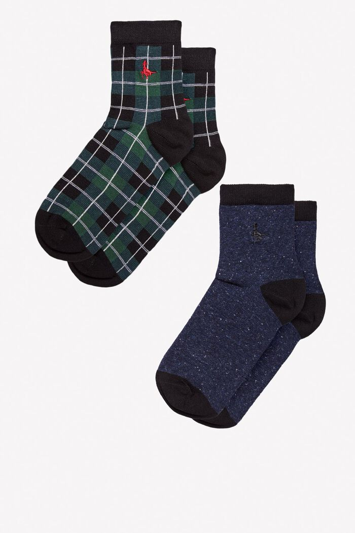 Product photo of Pullborough 2 pack ankle socks green check