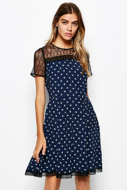 PADHAMS LACE & CREPE DRESS