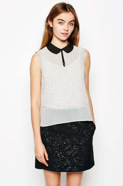 EDMUND FLOCK DOT SLEEVELESS TOP