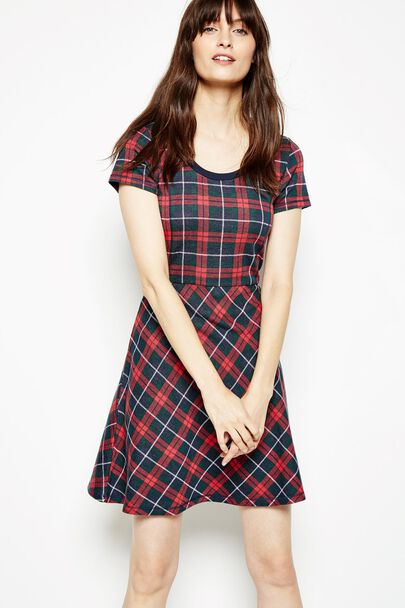 LEAVETT TARTAN KNITTED DRESS