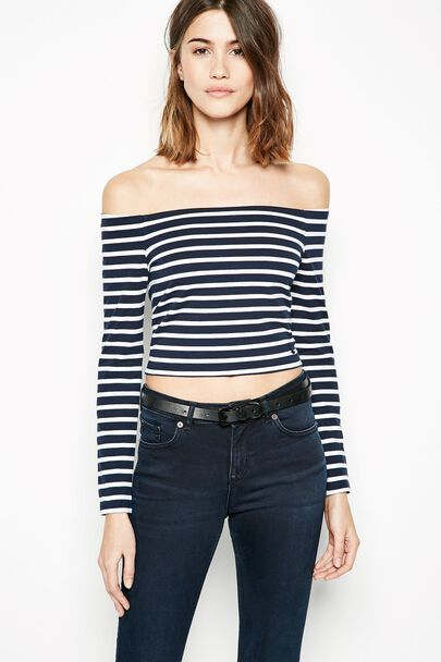 CHERITON STRIPED OFF SHOULDER CROP TOP