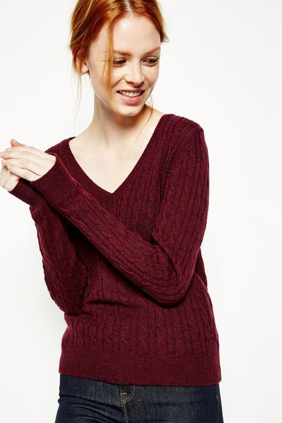 AMBLESIDE CABLE V NECK JUMPER