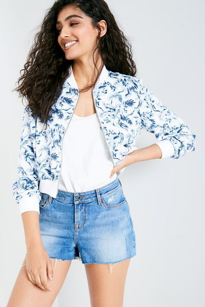 PRINGWEY FLORAL CROPPED BOMBER