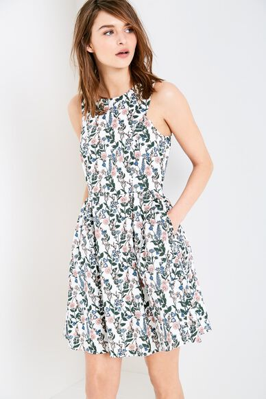 JASMIN FLORAL FIT & FLARE DRESS WHITE