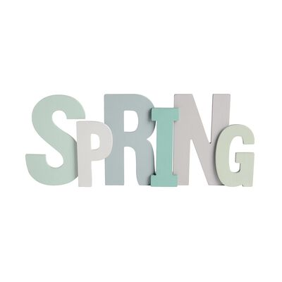 Schriftzug Spring Holz petrol ca B:20 x L:48 cm