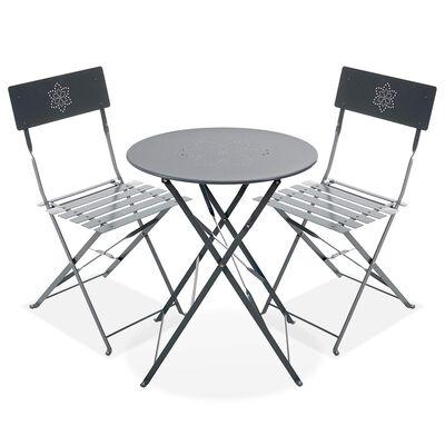 Balkonmöbel-Set aus Metall, 3-tlg, grau