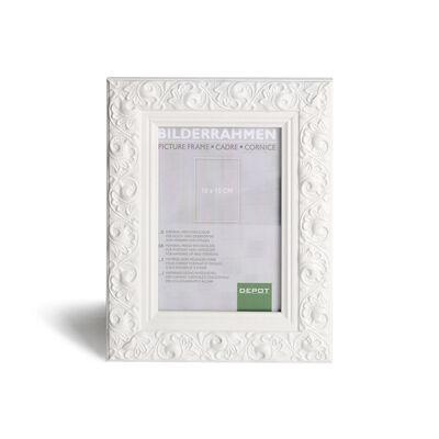 Bilderrahmen Ornament Kiefer weiß ca B:10 x L:15 cm