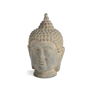 Dekofigur Buddhakopf, ca D:14cm x H:27cm, grau