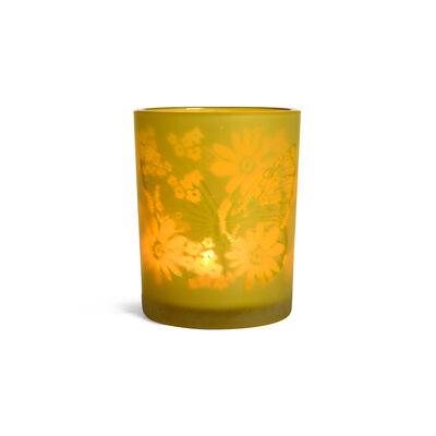 Windlicht Schmetterling Glas gelb ca D:10 x H:12 cm